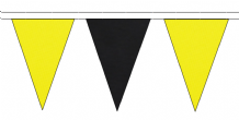 YELLOW AND BLACK TRIANGULAR BUNTING - 10m / 20m / 50m LENGTHS
